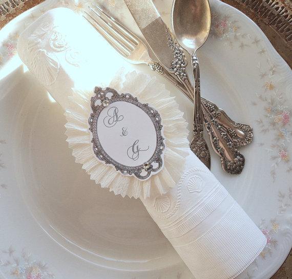 زفاف - Wedding Rings. 10 Ruffled Napkin Rings with Script Paper and Initials