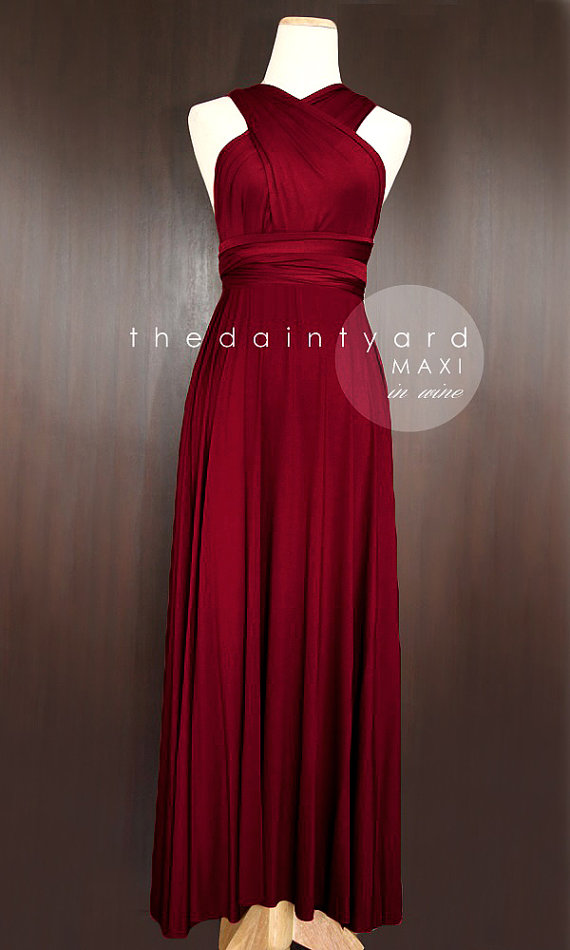 Maxi Wine Red Bridesmaid Dress Prom Wedding Infinity Convertible Wrap Multiway Tail
