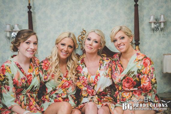 Kimono Robe Bridesmaids | Set Of 5 Floral Robes Bridesmaid Robe Bride Kimono Robes Maid Of