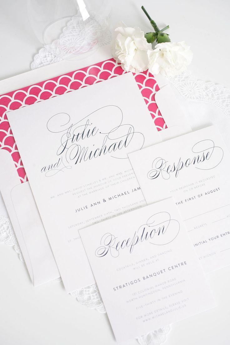 Свадьба - Elegant Hot Pink And Navy Wedding Invitations