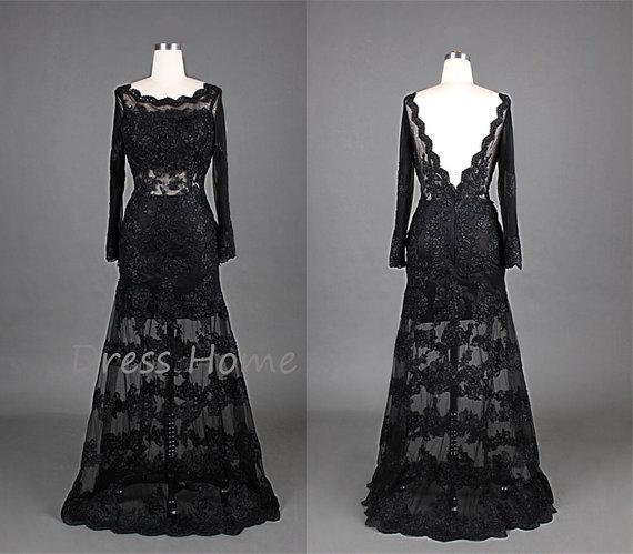 Vintage Black Lace Prom Dresses