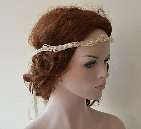 Rustic Wedding Headband Lace And Pearl Hair Accessory Bridal