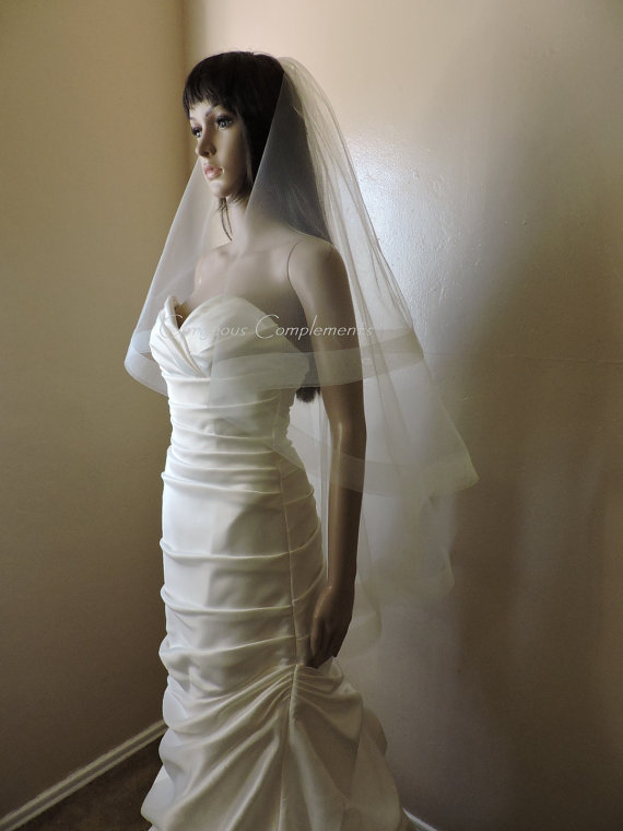 "Mariage - 2"" Horsehair Trim Wedding Drop Veil Illusion Tulle HH2G Blush White Ivory Champagne Off White Light Ivory"