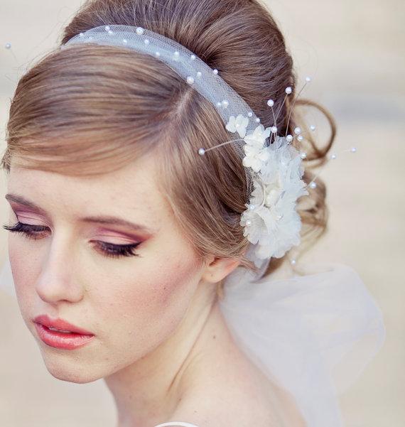 Prime Wedding Veil Tie Headband Of Net And Vintage Flowers Wedding Hair Short Hairstyles For Black Women Fulllsitofus