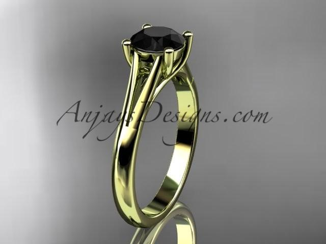 Wedding - 14kt yellow gold diamond unique engagement ring, wedding ring, solitaire ring with a Black Diamond center stone ADER109