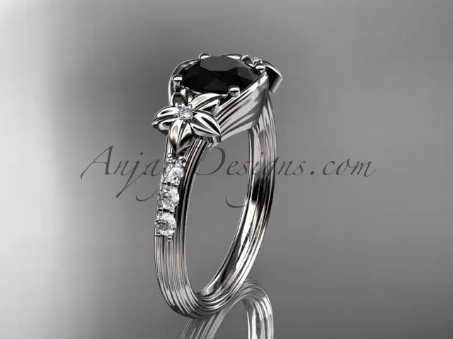 Свадьба - Unique Platinum diamond leaf and vine, floral diamond engagement ring with a Black Diamond center stone ADLR333