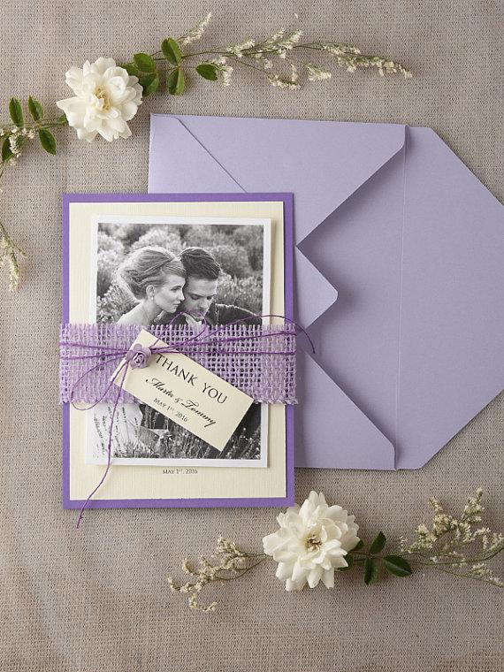 Свадьба - Personalised Wedding Thank You Card Set of 20, Rustic, Burlap Thank You Card, Purple Thank You cards Craft Eco Chick, Model no: 21/rts/THC