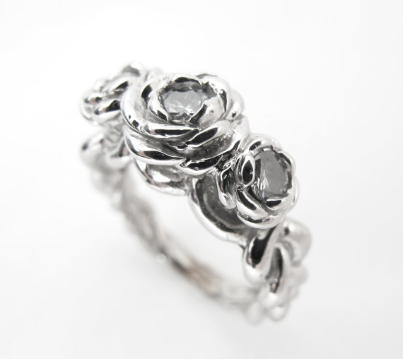 Свадьба - Rose Ring - Unique Alternative Engagement Ring - White Gold and Diamonds - Made to Order - Gorgeous - Handmade - Rickson Jewellery