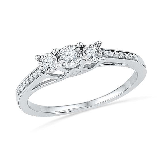 three diamond engagement ring sterling silver promise ring or white gold ring - Sterling Silver Diamond Wedding Rings