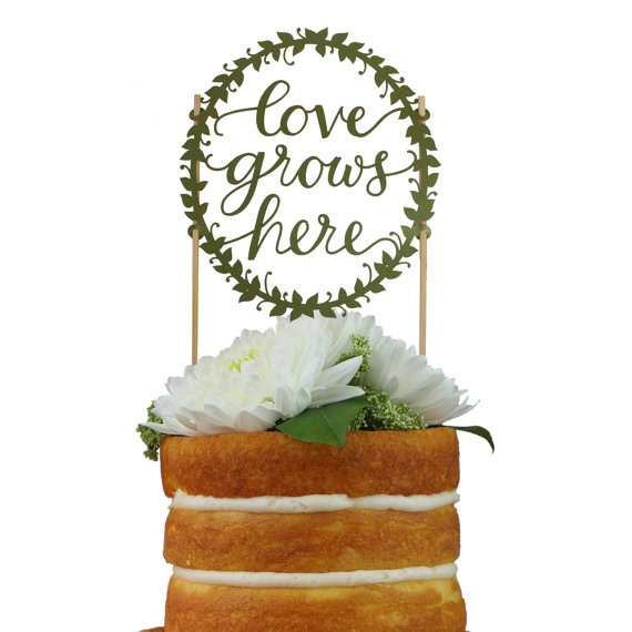 Свадьба - Love Grows Here Paper Cake Topper