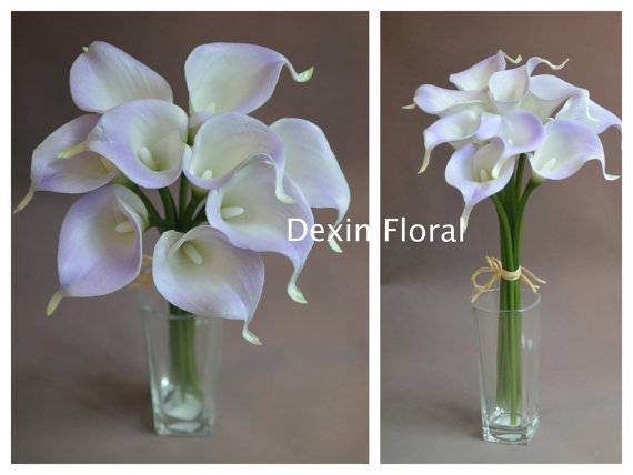 New 9pcs 36pcs Natural Touch Pale Light Purple Calla Lily Stems