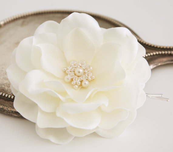 Mariage - Ivory Whimsical Magnolia Bridal Hair Flower Accessory Fascinator with Swarovski Pearls and Crystals