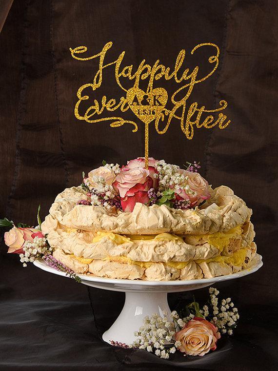 Wedding - Wedding Cake Topper Gold, Custom Gold Cake Topper, Glitter Cake Topper, Happily Ever, Personalized Cake Topper Wedding, Model no: 02/gltt/CT