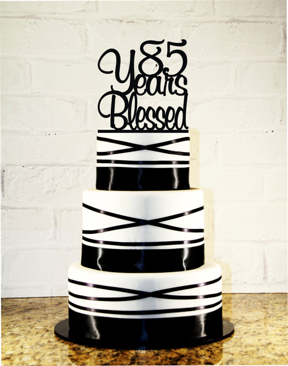 زفاف - 85th Birthday Cake Topper - 85 Years Blessed Loved Custom