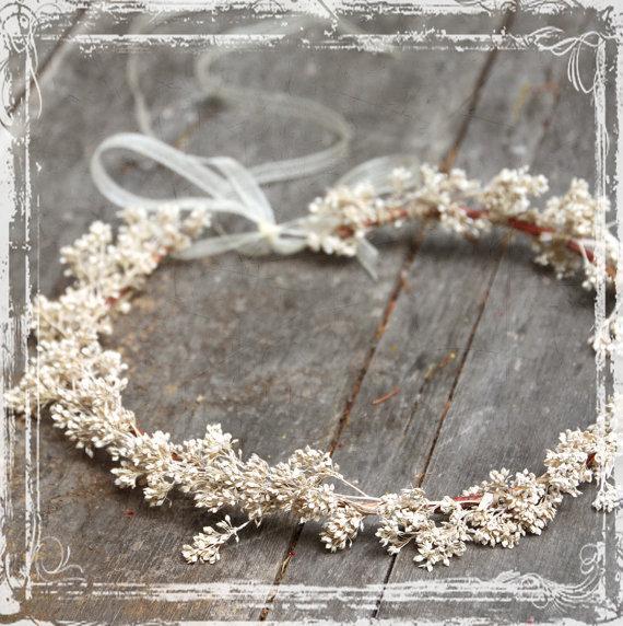 زفاف - Airy Floral Head Wreath - Wedding Halo - Flower Crown Accessories - Weddings, Festival Faire - Flower Girl, Bridal - Harajuku - Babys Breath