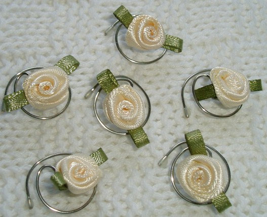 زفاف - Cream Rose Hair Swirls Spins Twists Spirals Coils for Brides Ballerinas Flower Girls