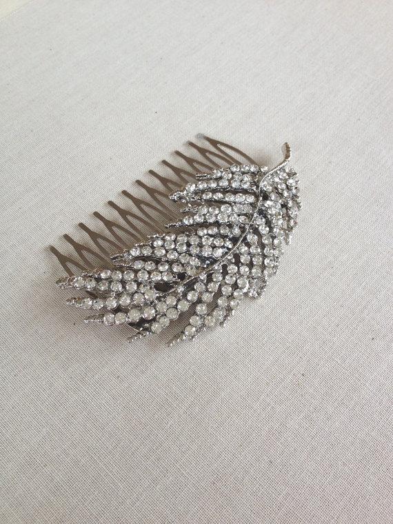 Wedding - Crystal leaf hair comb, rhinestone leaf, vintage rhinestones, hair slide, hair accessory, bridal hair comb, bridesmaid gift, rustic wedding