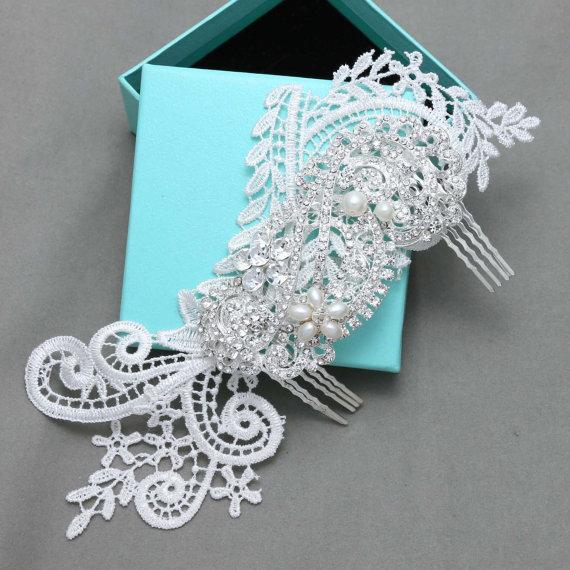 Wedding - Ivory Lace Hair Comb, Wedding Hair Comb, Vintage Wedding Hair Comb, Rhinestone Crystal Hair Comb,Hair Accessory,ART DECO, Floral Comb