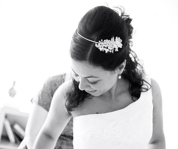 Wedding - Bridal Flower Tiara. Wedding Silver Headpiece. Bridal Headpiece.