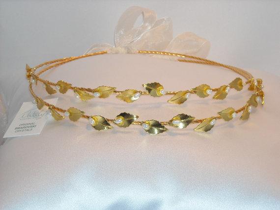 Wedding - STEFANA Gold leaf Crowns New Ancient Greek Style Gold Plated Leafs Stephana Orthodox Greek Wedding Crowns / Tiaras / Stefana