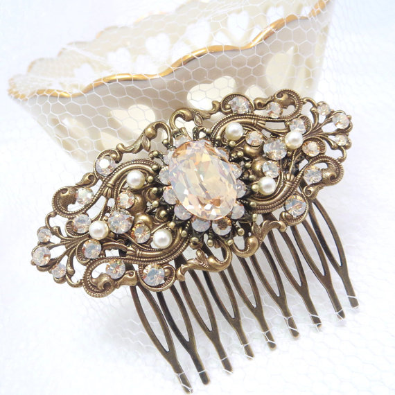 Wedding - Bridal hair comb, vintage style hair comb, antique brass hair comb, Bridal headpiece, Swarovski golden shadow, Marsala color