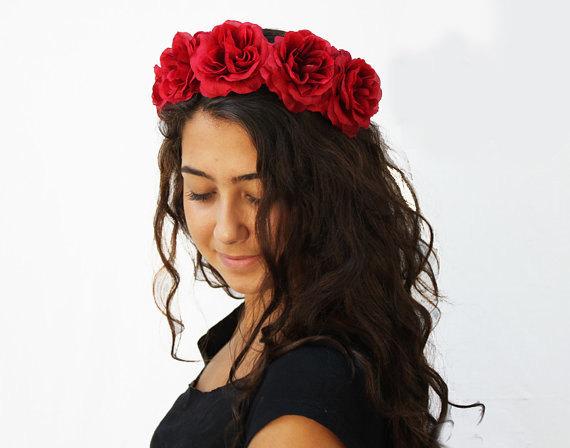 Wedding - Red Rose Crown, Day of the Dead, Rose Headband, Rose Flower Crown, Frida Kahlo, Dia de los Muertos headband, Red Rose Headband, Rose Crown