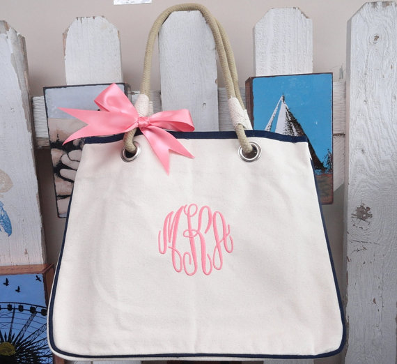 set of 10 monogrammed canvas rope totes bridesmaid gift  2378963
