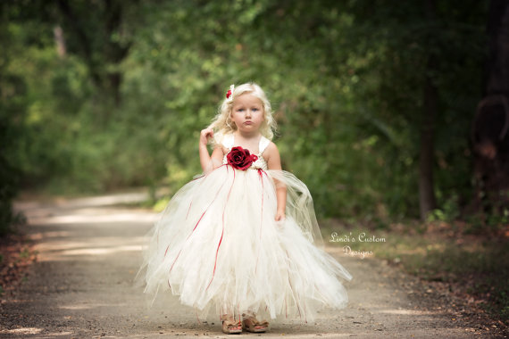 c3c74c0b6f Ivory And Red Tulle Tutu Flower Girl Dress For Weddings