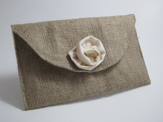 زفاف - Burlap Clutch Purse with Muslin Rose - Bridal Party Accessory