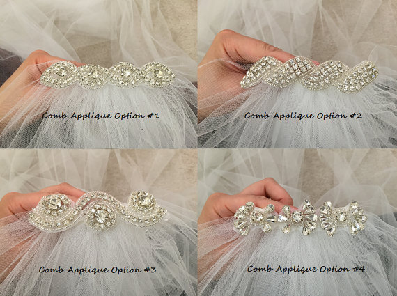 Свадьба - Add rhinestone applique to your veil - veil sold separately and flower not included