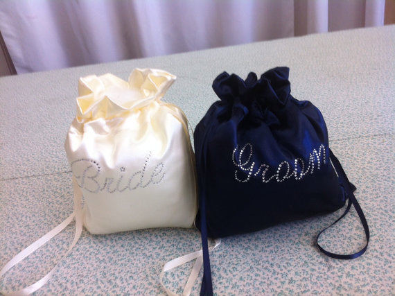 Hochzeit - Custom Made Money Bag Dollar Dance Set  For Bride and Groom Satin with Rhinestone Accent.