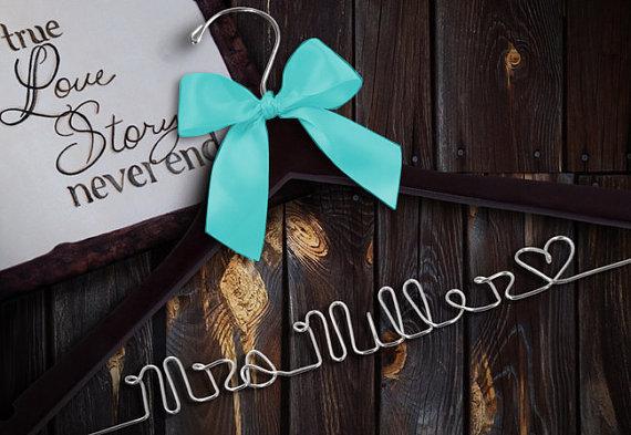 Hochzeit - SALE Personalized Wedding Hanger/ Name Hanger Wire Hanger Brides Hanger/ Bride/ Name Hanger/ Wedding Hanger / 47 ribbon colors