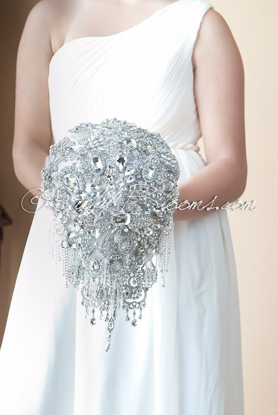 Crystal Silver White Wedding Brooch Bouquet Deposit Forever