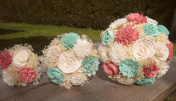 Свадьба - Medium Wedding Bouquet Ivory, Mint and Coral Sola Flowers and dried Flowers Toss Flower Girl Bridesmaid Keepsake