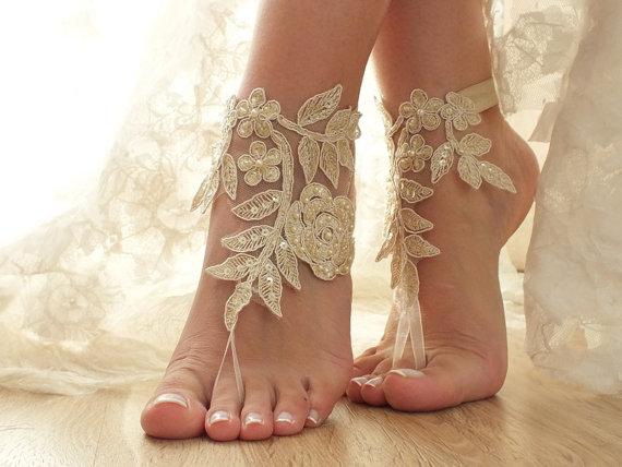 Hochzeit - Champagne gold Beach wedding barefoot sandals, lace sandals