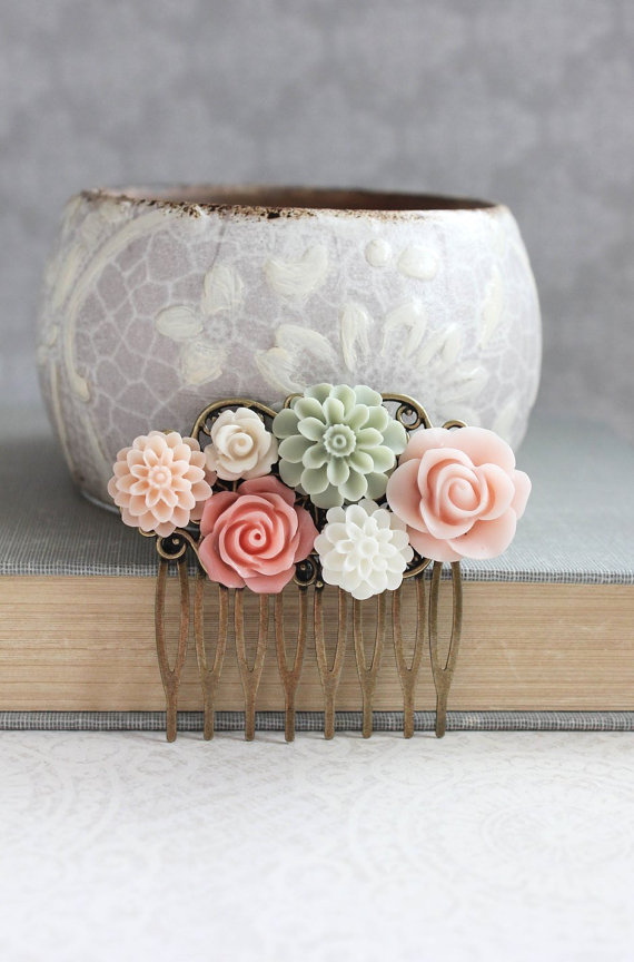 Mariage - Pink Flower Hair Comb Floral Collage Comb Romantic Shabby Country Coral Peach Sage Green Chrysanthemum Bridesmaid Gifts Summer Beach Wedding