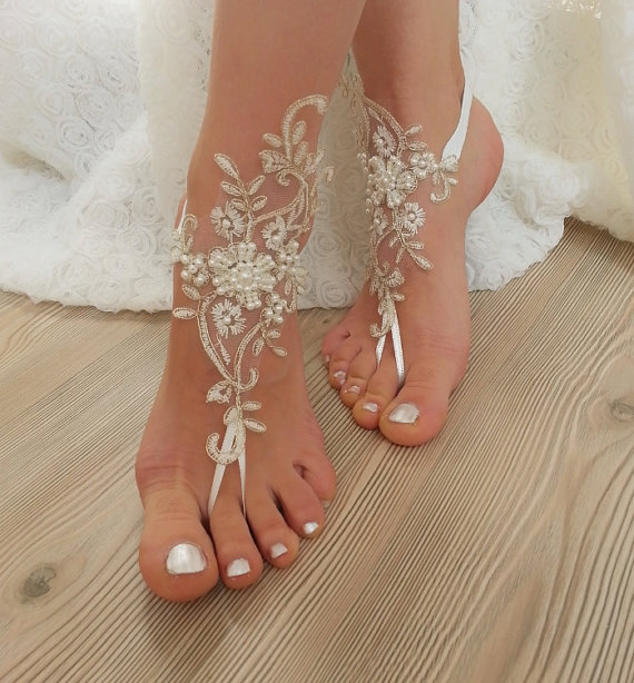 Wedding - ivory gold frame, pearl  beaded Beach, wedding barefoot sandals, Ivory Barefoot Sandals, Sexy, Anklet , Bellydance, Steampunk, Beach Pool