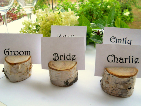 Mariage - 20 Birch Wood Place Card Holders, Birch Trees,  for Weddings, Meetings, School Events, Artists, or Craft Shows