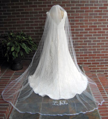 Mariage - Monogrammed Veil, Cathedral length bridal veil with organza ribbon edge and embroidered monogram