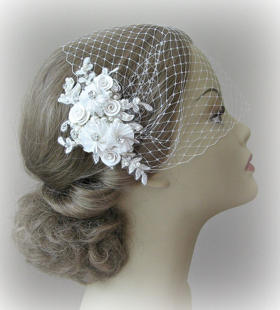 Mariage - Birdcage Veil and Lace Fascinator Set, Ivory, White or Champagne, Bridal Fascinator and Bandeau Veil with Rhinestones, Pearls - ODETTE
