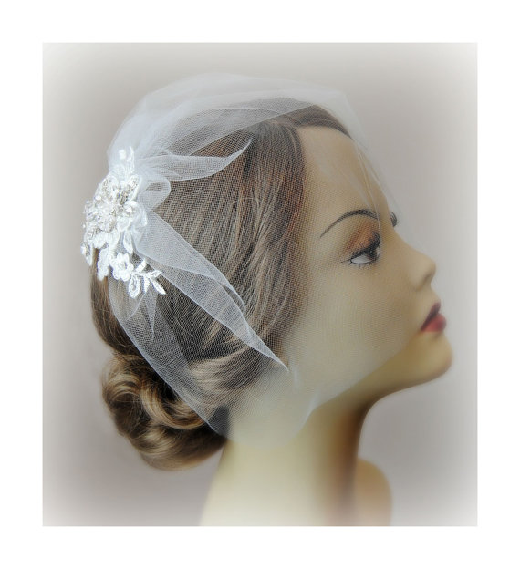 Mariage - Birdcage Veil and Ivory Lace Bridal Fascinator, Vintage Style Blusher Wedding Veil and Lace Hair Clip with Crystals and Pearls - LORALEI