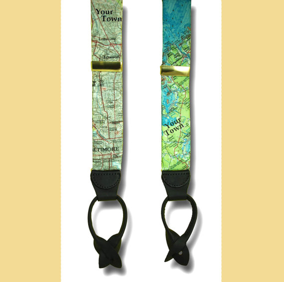 Mariage - Custom MAP/LOCATION Suspenders OOAK Braces Vacation Wedding Groom Coordinates Button In