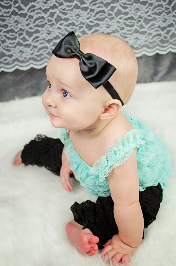 Christmas Headband For Baby Girl.Black Satin Bow Headband Hair Accessories Flower Girl