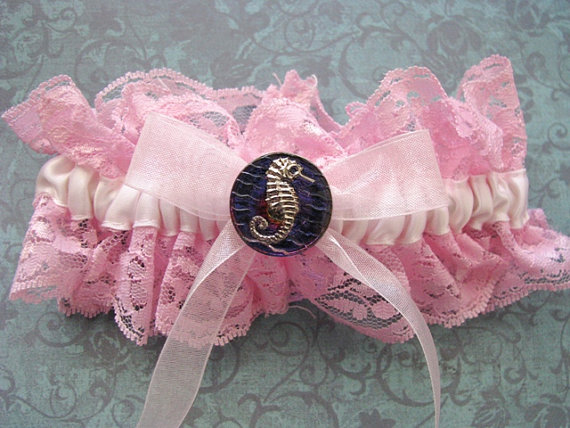 Wedding - Clearance! Beach Wedding Pink Seahorse Garter