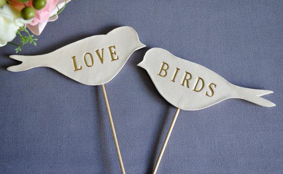 Свадьба - Gold Love Bird Wedding Cake Toppers