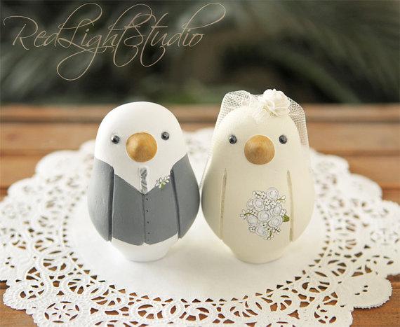 Свадьба - Custom Wedding Cake Topper - Love Bird Cake Topper - Medium