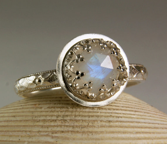 Свадьба - Sterling Silver Moonstone Ring, Faceted Gemstone, Blue Flash, Engagement Ring, Floral Band, custom sized