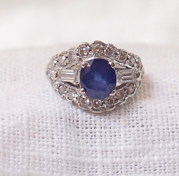 Wedding - Vintage Platinum and Diamond Ring 3 Carats