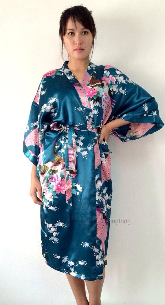 On Sale Kimono Robes Bridesmaids Silk Satin Teal Colour Paint Peacock Desigh Pattern Gift ...