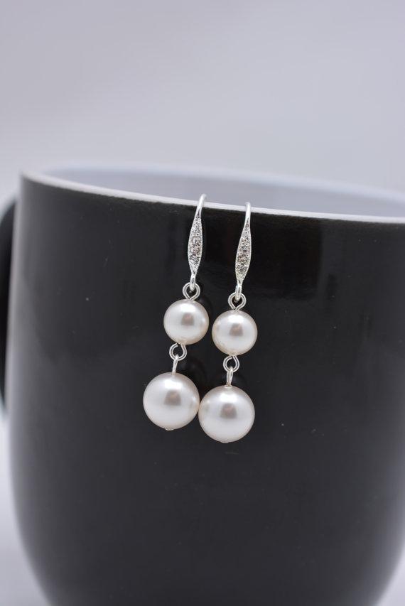 Свадьба - Pearl Wedding Earrings, Two Pearl Drop Earrings, Pearl Bridal Earrings, Pearl Dangle Earrings, Swarovski Pearl Earrings 0297